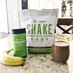 Makes a great healthy combination that taste good! #chocolategreens #itworks #proteinshake