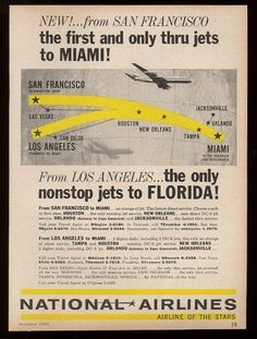 1961 National Airlines plane & USA route map vintage print ad