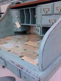 Shabby chic distressed, rolltop desk..sea foam w/vintage postcards. http://www.facebook.com/righteousdesign.furniture