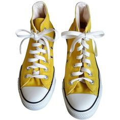 Yellow Cloth Trainers CONVERSE (640.620 IDR) ❤ liked on Polyvore featuring shoes, sneakers, converse, yellow, yellow sneakers, yellow shoes, converse shoes, converse trainers and converse sneakers