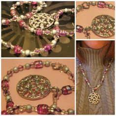 Pink glass bead necklace with floral pendant $10.00 on Storenvy!