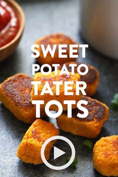 Sweet Potato Tater Tots by Fit Foodie Finds. Shredded potato, cooked until crisp. - Sweet Potato Tater Tots by Fit Foodie Finds. Shredded potato, cooked until crisp on the outside and - Tater Tot Bake, Sweet Potato Tater Tots, Low Carb Sweet Potato, Sweet Potato Recipes Healthy, Healthy Dessert Recipes, Tater Tot Recipes, Shredded Potatoes, Fit, Salad