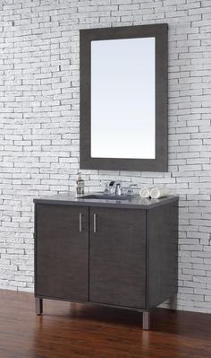 36 inch Silver Oak Finish Single Sink Bathroom Vanity Optional Countertop. http://www.listvanities.com/transitional-bathroom-vanity.html Very clean lines and ample storage make these vanities a welcome addition to your bathroom. Hand-crafted from North American Birch hardwoods and featuring exotic veneers like Macassar Ebony, American Walnut and White Oak, the bathroom vanities compliment todays modern interiors.