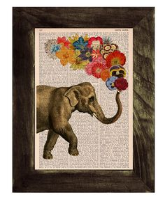 Elephant with Flowers - Love book print  - Elephant in love - Printed over vintage dictionary book page