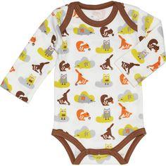 Body bébé manches longues Ecureuil marron et orange (3 tailles)