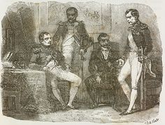 Napoleon Bonaparte speaking with brothers Joseph, Luciano and Jerome at Elysee, 23 June 1815, illustration from first Italian edition of Memorial of Saint Helena, Volume 1, 1842