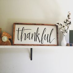 Thankful Farmhouse Sign Framed Wooden sign