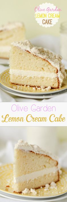 Olive Garden Lemon Cream Cake -- this literally tastes IDENTICAL to the one they sell at Olive Garden. Tons of great reviews can't be wrong -- try it for yourself and see!