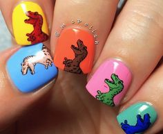 Nails of the Day: Warhol Dinosaurs