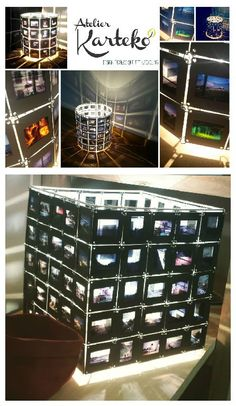 Unique and original lamp made from old forgotten slides. The visible images…