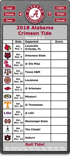 BACK OF WIDGET - 2018 Alabama Crimson Tide Football Schedule Dashboard Widget for Mac OS X - Roll Tide! - National Champions 2017, 2015, 2012, 2011, 2009, 1992, 1979, 1978, 1973, 1965, 1964, 1961, 1941, 1934, 1930, 1926, 1925  Download yours at: http://2thumbzmac.com/teamPagesWidgets/Alabama_Crimson_Tide.htm