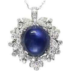 Preowned 1940's Raymond Yard Star Sapphire Diamond And Platinum... (1.986.030 RUB) ❤ liked on Polyvore featuring jewelry, pendants, blue, star sapphire pendant, charm pendant, sapphire jewelry, round pendant and blue diamond pendant