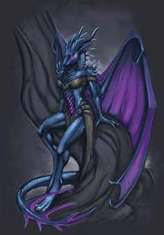 Female Royal Blue Dragonborn Wings Empress Queen Sorcerer