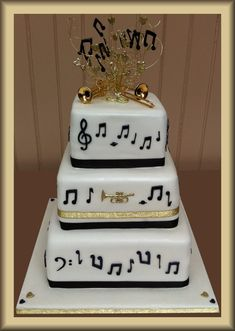 Three Tier Musical Wedding Cake  (except it bugs me that some of the notes are backwards)