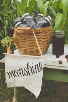 farm stand, dinner idea, apple pie moonshine, farm table wedding, drink, backyard parties, moonshin cocktail, mason jars, cocktails