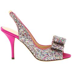 Kate Spade New York Charm Heel ($325) ❤ liked on Polyvore featuring shoes, heels, sandals, multi sparkle glitter, embellished shoes, sparkly high heel shoes, kate spade shoes, genuine leather shoes and leather slingback shoes