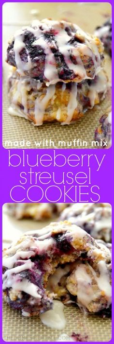 These Blueberry Streusel Cookies are so good, you won't know they came from jboxed muffin mix! Hearty, soft pillows of juicy blueberry goodness, they're simple to make and are great for breakfast too!