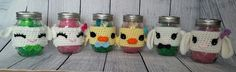 These cute little jars will be available this Spring at the Barn-n-Bunk in Trenton, Ohio.  I think the lamb and duck would also make cute baby shower gifts :)  If you would like to order the a Spring cozy please contact me via my business page. https://www.facebook.com/CreativeKittyCrochet  $6 per cozy $3 shipping / to U.S. can combine if you order more than one