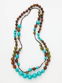 Gerard Yosca Turquoise Multi Wood Bead Necklaces