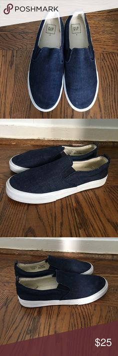 Navy Slip-Ons from Gap These are Navy Slip-Ons from Gap. They fit a women's 9, 9.5 and a 10 if you are on the smaller side. They up close they have a denim like texture on the outside. They are pretty comfortable and great for Spring and Summer. They have been worn about twice. GAP Shoes Sneakers