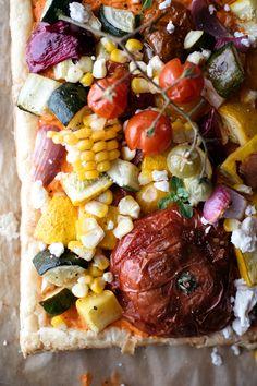 Colorful vegetable garden tart
