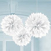 White Fluffy Ball Decorations - fire and ice