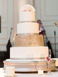 18 Wedding Cake Ideas With Silver and Gold Bling | TheKnot.com