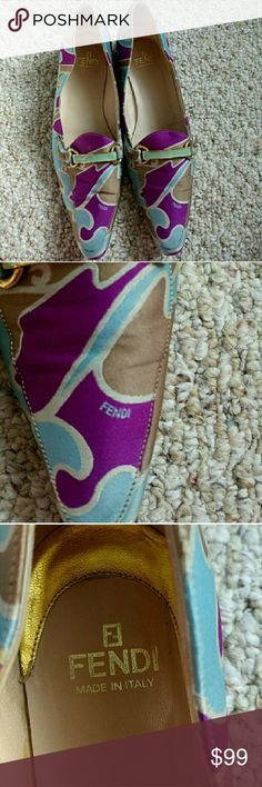 Fendi colorful flats Fendi colorful flats Fabric uppers, leather liners purple/blue/tan/beige, brass garnish with green cloisonne Made in Italy Good used condition Fendi Shoes Flats & Loafers