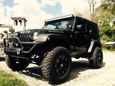 Black Jeep Wrangler 2 door, 4 inch lift, 35 inch tires, black rockstar rims, 50 inch LED light bar, 24 inch LED light bar, LED Pod lights, rubicon, smitty bilt front bumper. Rachel Gaden's jeep! Jeepher!