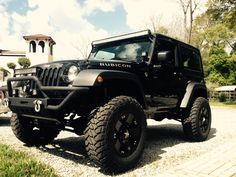 Black Jeep Wrangler 2 door, 4 inch lift, 35 inch tires, black rockstar rims, 50 inch LED light bar, 24 inch LED light bar, LED Pod lights, rubicon, smitty bilt front bumper. Rachel Gaden's jeep! Jeepher!
