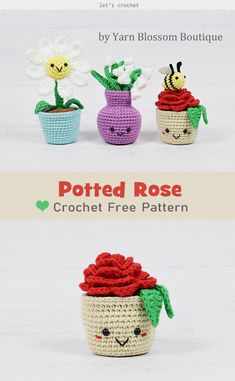 Potted Flower Free Crochet Pattern 2019 Potted Rose Free Crochet Pattern The post Potted Flower Free Crochet Pattern 2019 appeared first on Lace Diy. Crochet Amigurumi Free Patterns, Crochet Flower Patterns, Crochet Flowers, Crochet Cactus Free Pattern, Crochet Stars, Fabric Flowers, Crochet Ideas, Kawaii Crochet, Cute Crochet