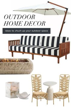 Modern patio and outdoor decor for your porch. Black and white stripe outdoor sofa. Modern fire pit and unique dining chairs for your porch. Outdoor Dining Chairs, Outdoor Sofa, Outdoor Living, Outdoor Spaces, Cantilever Patio Umbrella, Hipster Home Decor, Modern Fire Pit, Outdoor Garden Decor, Modern Patio