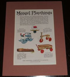 1920 Full Page Color Advertisement for Mengel Playthings by The Mengel Co. Ky #Mengel