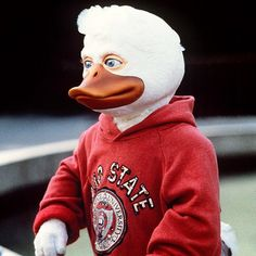 Howard The Duck (1986)  Chip Zien & Ed Gale as Howard The Duck.  Also, it was exclusively filmed in Ohio. Beat that!