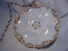 Antique Haviland Limoges 5 Well Porcelain China Floral Oyster Plate
