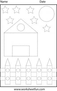 Picture Tracing – Shapes – Circle, Star, Triangle, Square and Rectangle – 1 Worksheet / FREE Printable Worksheets – Worksheetfun Shape Tracing Worksheets, Tracing Shapes, Printable Preschool Worksheets, Free Kindergarten Worksheets, Writing Worksheets, Tracing Lines, Free Worksheets, Preschool Writing, Free Preschool