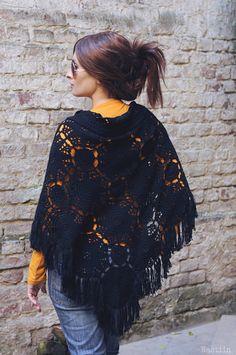 Black crochet shawl wrap Crochet poncho with fringe от Nastiin
