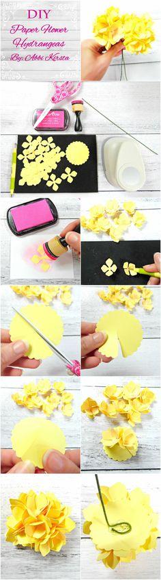Paper Flower Templates & PDF patterns- DIY paper flowers- Paper flower SVG files- Paper flower tutorial- Hydrangea Paper flowers