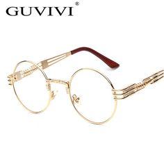 Aliexpress.com  Acheter 2017 GUVIVI Vintage En Métal Lunettes de Soleil  Femmes optique Cadre Steampunk Rose Cadre Hommes Gothique Revêtement Oculos  de grau ... bd039c93d596
