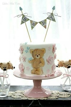 ~ Baby Bear Baby Shower Cake with Matching Cake Pops ~ Adorable! Baby Cakes, Baby Shower Cakes, Gateau Baby Shower, Cupcake Cakes, Gorgeous Cakes, Pretty Cakes, Cute Cakes, Super Torte, Teddy Bear Cakes