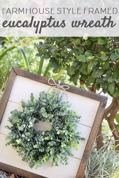 Farmhouse style famed eucalyptus wreath | Farmhouse style framed wreath | Spring farmhouse decor | farmhouse decor | farmhouse wall decor | farmhouse style decor | farmhouse style wall decor | farmhouse wall decor | farmhouse wreath  #ad #affiliate