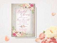 Rustic Bridal Shower Invitation Rustic Boho Lace Bridal