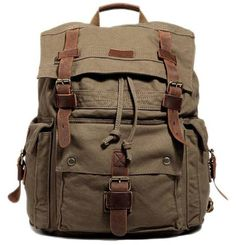 Main Material  All canvas rucksack with leather straps. Size  H 18