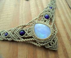 Rainbow Moonstone macrame necklace micro macrame by SelinofosArt