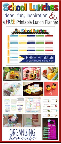 School Lunch Ideas and a Free School Luch Planner