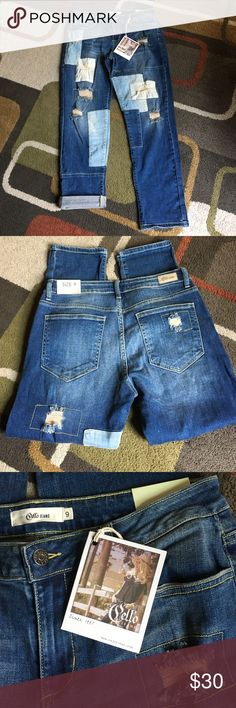 """Cello jeans NWTCello boho patchwork boyfriend jeanslying flat waist measures 15.5""""  rise is 9"""" inseam is 27.5""""  wear rolled up or straight perfect with a sweater and booties Cello Jeans Boyfriend"""