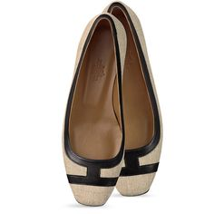 Hermès Infinitif Ballerina featuring polyvore fashion shoes flats hermes scarpe beige flats ballet pumps flat pumps black ballet flats flat shoes