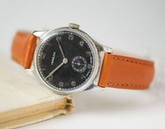 Black classy gent's watch Pobeda mid century men's by SovietEra