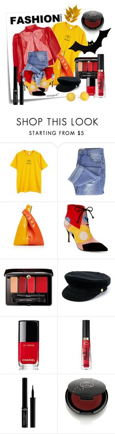 """jesienne"" by margo47 ❤ liked on Polyvore featuring Post-It, Gucci, Taya, Hayward, Manolo Blahnik, Guerlain, Manokhi, Chanel, Too Faced Cosmetics and Giorgio Armani"