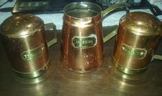 Vintage Antique Copper Brass Salt Pepper & Cheese Shakers Set